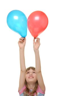 Free Girl With Two Balloons Stock Photography - 13703822