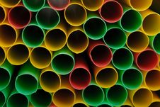 Many Multi-coloured Straws For Drinks Stock Photos