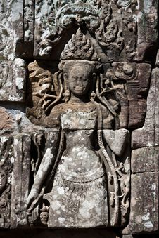 Free Bayon Temple Wall Carvings Stock Photos - 13706573