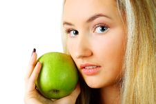 Free Woman With Green Apple. Stock Images - 13706694
