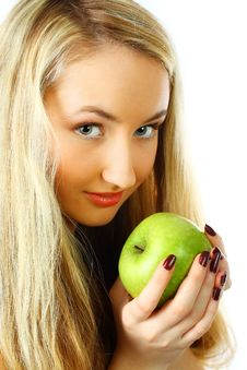 Free Woman With Green Apple. Stock Photography - 13706702