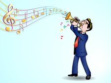 Free Trumpeter Over Music Background Royalty Free Stock Image - 13706946