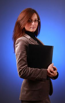 Free Businesswoman On Blue Stock Photography - 13707652