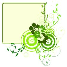 Free Green Banner With Flowers Stock Photo - 13708250