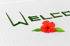 Free Word Welcome And Flower On Bed In Hotel Stock Photos - 13708303