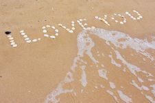 I Love You In Sand Stock Photos