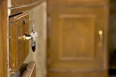 Free Key Ring On Storage Door Stock Photography - 13708652