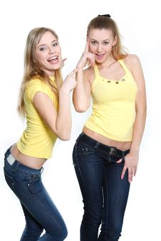 Free Two Happy Girls Over White Stock Photos - 13710273