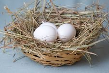 Free Eggs Lies In Basket Stock Images - 13710374