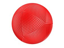 Free Red Thorny Textured Sphere Isolated On White. Stock Image - 13712261