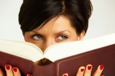 Free Pensive Woman With Book Stock Photo - 13713060