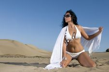 Free Woman On The Sand With Bikini Royalty Free Stock Photography - 13713587