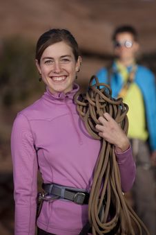 Free Attractive Female Rock Climber Smiling Stock Photography - 13714192