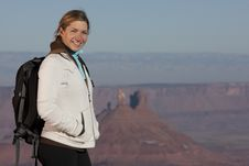Free Young Female Hiker Smiling Stock Images - 13714224