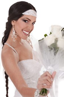 Free Bride With Wedding Bouquet Stock Images - 13714344