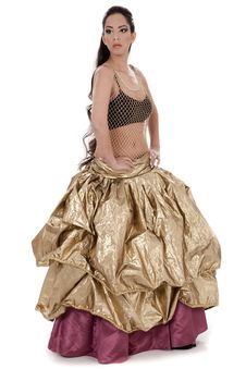 Free Belly Dancer In Golden Costume Dancing Royalty Free Stock Photography - 13714477