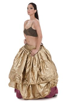 Free Traditional Belly Dancer In Golden Costume Royalty Free Stock Photos - 13714498