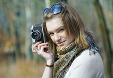Woman With Old Camera Royalty Free Stock Photos