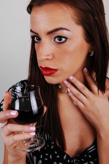 Young Woman With Glass Of Wine. Stock Photo