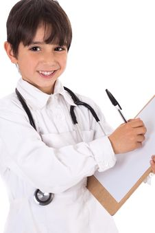 Free Little Boy Doctor Writes On His Clipboard Royalty Free Stock Photos - 13715068