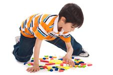 Free Cute Kid In Process Of Joining The Blocks Stock Images - 13715134