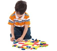 Free Adorable Caucasian Boy Joining The Blocks Stock Photography - 13715142