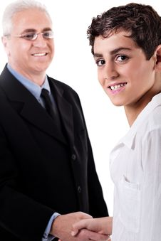 Free Business Man Handshake With A Young Boy Stock Photos - 13715223