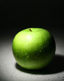 Green Apple On White Background Stock Photo