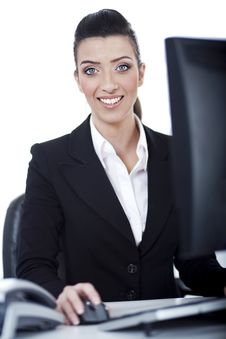 Free Business Woman Working At Office Stock Photo - 13715440
