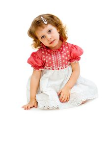 Free The Girl Sits In An Elegant Dress Royalty Free Stock Photography - 13715507