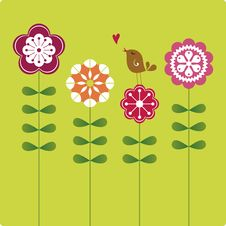 Free Sweet Bird Card Design Royalty Free Stock Photography - 13715707