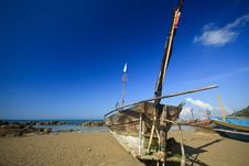 Old Row Boat On The Beach Royalty Free Stock Image