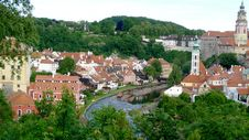 Panoramic  Of Cesky Krumlov In Czech Royalty Free Stock Image