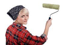 Free Charming Blonde Painter Royalty Free Stock Image - 13716476
