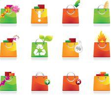 Free Shopping Bags Icon Set Royalty Free Stock Photo - 13716615