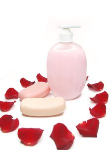 Free Liquid Soap With Rose Extract Royalty Free Stock Photo - 13716645