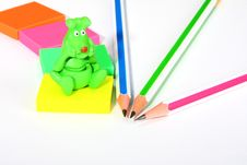Free Colorful Pencils, Rubbers, And Green Monster Royalty Free Stock Photo - 13716665