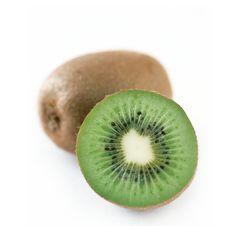 Half Kiwi On White Background Stock Photo