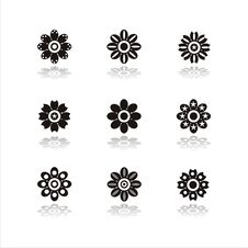 Free Set Of 9 Flower Icons Royalty Free Stock Images - 13718839