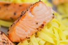 Free Salmon With Pasta Stock Photography - 13719232