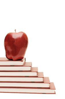 Stack Of Books And Apple Isolated Stock Photos
