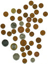 Free Lot Of Different Coins On White Royalty Free Stock Photos - 13722348