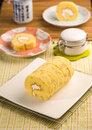 Free Light Meal With Cream Roll Stock Photo - 13727810