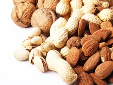Free Nuts On White Background Royalty Free Stock Photos - 13720168