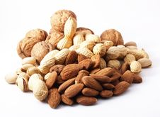 Free Nuts On White Background Royalty Free Stock Photography - 13720417