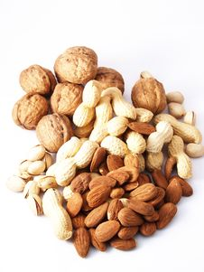 Free Nuts On White Background Stock Image - 13720441