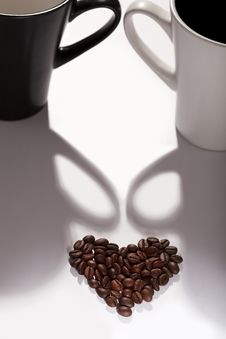 Coffee Beans In The Shape Of A Heart Royalty Free Stock Image
