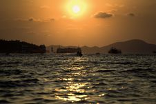 Free Sun Go Down Between Two Islands Royalty Free Stock Photo - 13721205