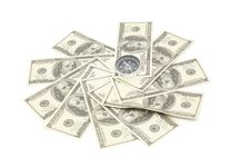 Free Compass On Hundred Dollar Stock Images - 13721444