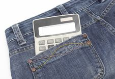Calculator In Jeans Pocket Stock Photos